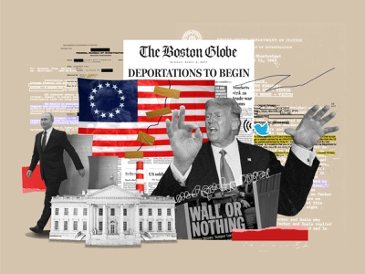 'Wall or Nothing' democrat democracy united states of america voter vote presidential election president ui design twitter white house politics collage usa flag usa putin united states donaldtrump donald trump illustration