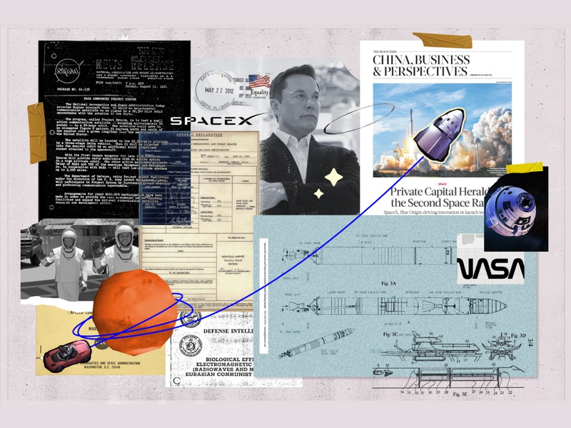 Elon Musk modern astronaut spacex collage art space nasa elon musk mars elonmusk collage graphic design vector illustration