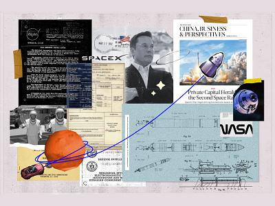 Elon Musk modern astronaut spacex collage art space nasa elon musk mars elonmusk collage graphic design vector illustration