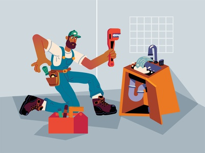 Plumber 👨🏽🔧 dribbble plumbing wrench proffesional renovations renovation working fixing plumbers plumber freebie free character design ilustracion flat graphic design vector illustration