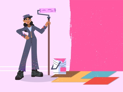 Painter 🖌️ brush woman illustration pink bucket painting paint girl character house painting renovations renovation painter woman girl character design ilustracion flat graphic design vector illustration