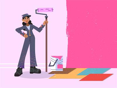 Painter 🖌️ brush woman illustration pink bucket painting paint girl character house painting renovations renovation painter woman girl character design ilustracion flat graphic design vector illustration