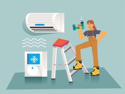 Air Conditiong ❄️ characterdesign woman girl illustration girl character girl boots cold drill lader renovations air conditioner ac character design modern ilustracion flat graphic design vector illustration