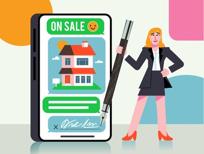 Realtor assistance emoji signature pen sales realtor flyer sales woman sign new house house woman realtors realtor flat modern character design ilustracion graphic design vector illustration