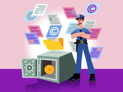 Intellectual Property 🔐👮 dribbble officer characters character police brutality police officer coin security intellectual property copyright safe policeman police character design ilustracion flat graphic design vector illustration