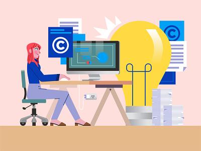 Intelectual Propery woman idea working paper bulb imac desktop copyright graphics character design modern ilustracion flat graphic design vector illustration