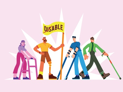 Disable Day ♿ flags plastic leg disabled palette colors palette girl guy characterdesign character colors disable blind character design modern flat ilustracion graphic design vector illustration