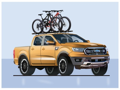 Ford f150 bike illustration bikes bike truck car illustration ford mustang f150 ford f150 ford branding character design modern ilustracion flat graphic design vector illustration