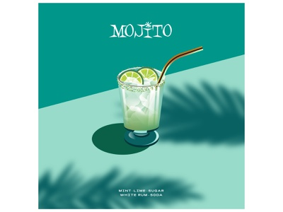 Mojito 🍸 color palms summer soda mint lime drinks drink poster cocktails cocktail graphics logo modern ilustracion flat graphic design vector illustration