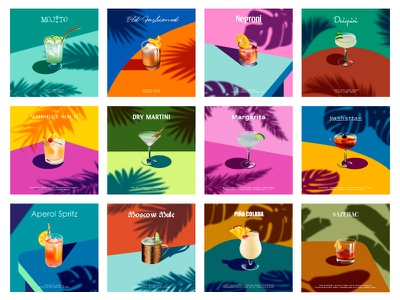 Cocktails of the World 🍹🍸 palm cocktail bar summer old fashioned mojito margarita martini poster drinks drink cocktail cocktails icon modern ilustracion flat graphic design vector illustration