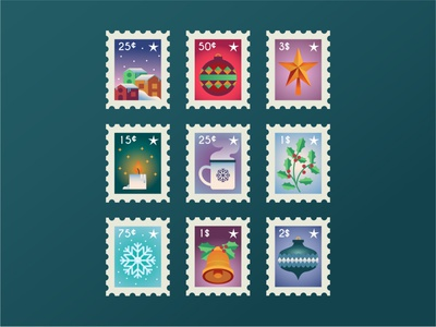 Christmas Stamp Collection christmas party snow candle christmas card star winter bell stamps stamp christmas modern icon ilustracion flat graphic design vector illustration