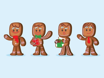 Gingerbread 🍪 tutorial gift gingerbread man gingerbread christmas card christmas icons graphics character design ilustracion flat graphic design vector illustration