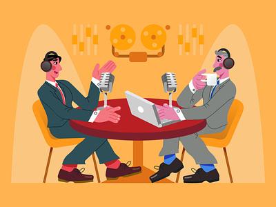 PODCASTING 🎙️ microphone radio buttons podcast art podcast radio button radio graphics character design ilustracion flat graphic design vector illustration