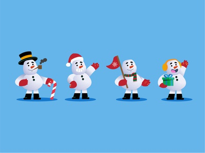 Snowman Collection winter navidad christmas hat cute snowflake snow snowman character design modern icon ilustracion flat graphic design vector illustration