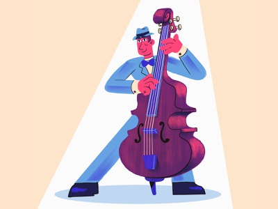 Bass 🎶 procreate blues band characters characterdesign character musician music bass jazz festival jazz modern character design ilustracion flat graphic design vector illustration