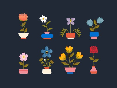 Flowers animal crossing margaritas plant flowers illustration vase pot tulip rose floral flower illustration flowers flower modern icon ilustracion flat graphic design vector illustration