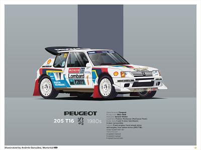 Peugeot 205 T16 prints rally championship audi quattro audi dribbble invite sale illustrator peugeot 205 t16 rally car sport car race car rally peugeot car ilustracion flat graphic design vector illustration