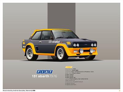 Fiat 131 abarth 1976 black car race sport car race car car illustration car poster car print fiat rally fiat 500 fiat 131 rally car fiat graphics graphic design vector illustration