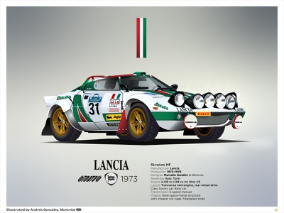 Lancia Stratos HF 1974 car sport car italy sale poster print prints race car rally car rally stratos lancia graphics ilustracion flat graphic design vector illustration