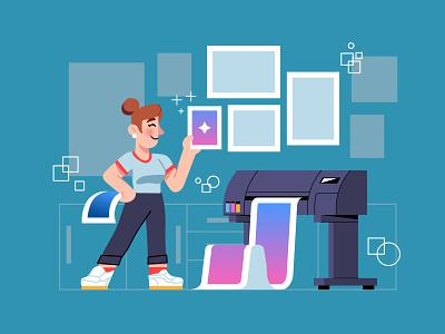 Printing Industry printing press printing services working woman epson printer prints printing design printing graphics character design modern icon ilustracion flat graphic design vector illustration
