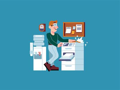 Copies copies 📄 copy copies office printing press printer paper photocopy printing services printing design printing character design modern ilustracion flat graphic design vector illustration