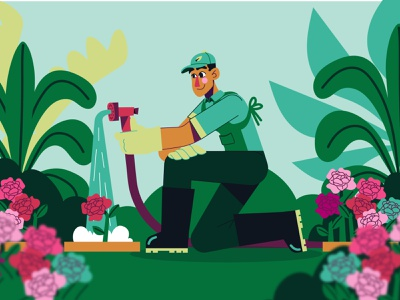 Spring is here! 🌱 spring season season springtime gardener greenhouse garden gardening roses flowers spring character design modern icon ilustracion flat graphic design vector illustration