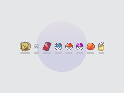 Pokeicons design vector illustration backpack pokedex pikachu masterball pokemon pokeball icon icons