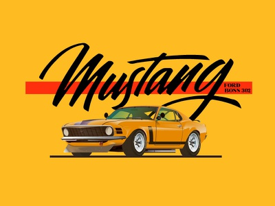 1970 Ford Mustang  Boss 302 ford mustang cars car ford illustration mustang graphic vector boss 302