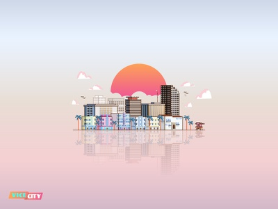Vice City miami vector illustration sunset building gradient vice ctiy buildings city usa vicecity