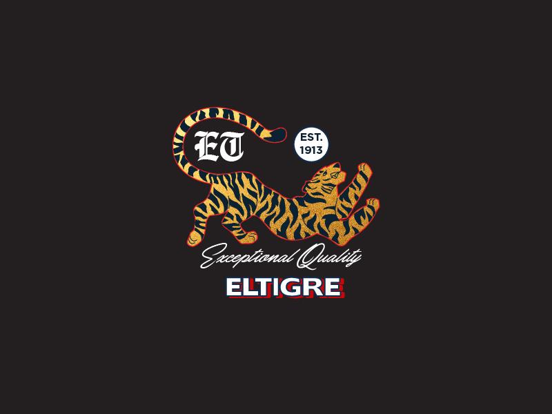 EL TIGRE logo badges chinese tigre tiger gold logos graphics emblem brand illustration design