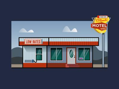 El Rancho Motel - Low Rates! & Free WIFI 🤣📲 hotel motel building graphics store illustration design turism