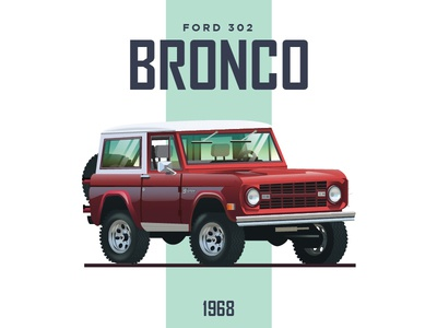 Ford Bronco 302 V8 -  1968 vector graphic 4x4 illustration truck car cars ford
