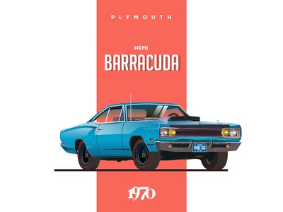 Plymouth Hemi Cuda - 1970 barracuda plymouth cars car cuda illustration blue car graphic vector