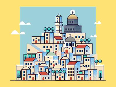 Jerusalem church jerusalem house texture israel icon illustration city graphics vector houses