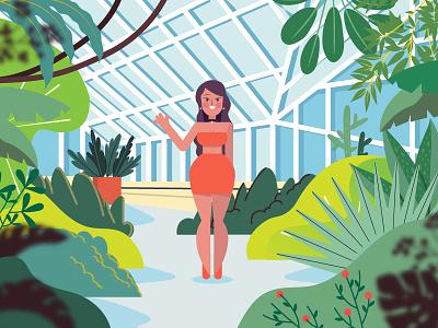 Botanical Gardens vector graphic digital illustration green flowers girl plants editorial botanical gardens