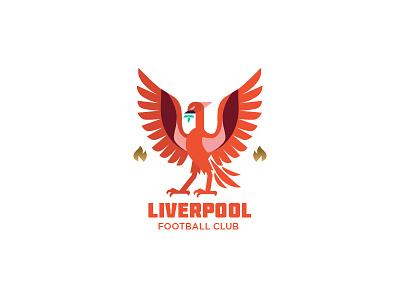 Liverpool crest fire phoenix bird crest soccer liverpool badge emblem illustration logo graphic vector
