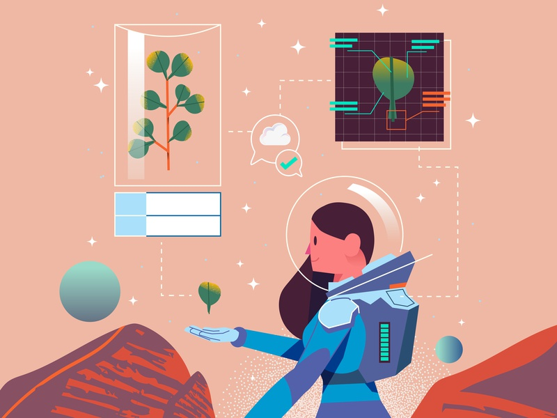Space Girl leaf plant mars planet girl space avatar graphics character design ilustracion modern flat icon graphic design vector illustration