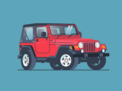 Jeep wrangler wrangler camper truck camper auto graphics cars 4x4 red jeep red carpet car truck jeep ilustracion modern logotype flat graphic design vector illustration