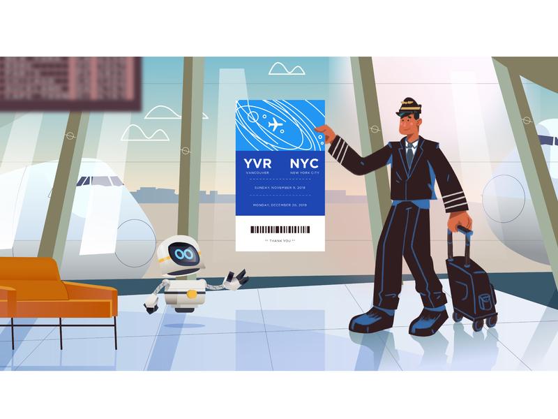 Newt Stop: New York New York bagpack ticket plane ticket pilots pass boarding pass robot plane airport pilot graphics character design ilustracion modern flat graphic design vector illustration