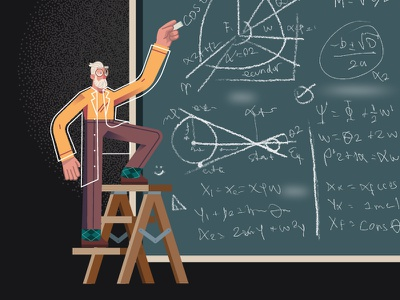Creating Ideas chalk board ladder doctor mathematics math formula science scientist character design ilustracion modern flat graphic design vector illustration
