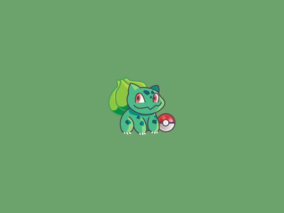 #001 3ds nintendo pokemongo pokemon lets go pokemon go green pikachu pokeball grass bulbasaur pokemon animal character design modern ilustracion flat graphic design vector illustration