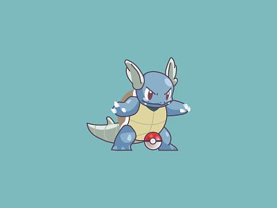 #008 water wartortle poke nintendo pokemongo pokeball pokedex pokemon character design ilustracion flat design vector illustration