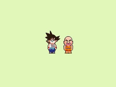 Kid Goku And Krillin pixel cute goku cute kid dg dragon ball krillin pixel art goku logo icons character design modern ilustracion icon graphic design vector illustration