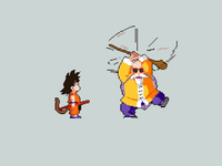 Kid Goku and Master Roshi