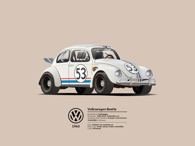 1963 Volskwagen beetle - 'Herbie' white car automobile auto race race car sport car car beetle volkswagen modern ilustracion flat graphic design vector illustration