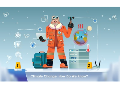 Climate Change? 🌎♨️ scientist climate strike hot bagpack evidence earth explorer antarctica climate change global warming graphics character design modern ilustracion icon flat graphic design vector illustration