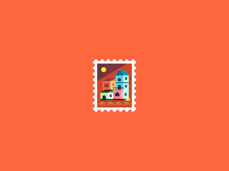 Small Village stamp design mexico city mexico village house stamps graphics stamp graphic design graphicdesign icons logo modern ilustracion icon flat graphic design vector illustration
