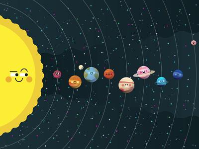 Solar System 🌌 spaced galaxy saturn jupiter stars mars sun moon earth solar system graphics icons modern flat icon ilustracion graphic design vector illustration
