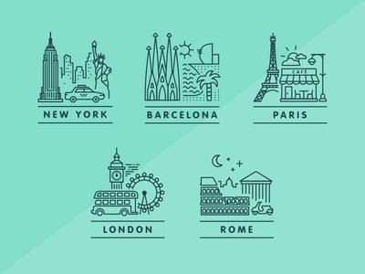 City Icons new york rome barcelona london paris travel places city simple illustration icons design