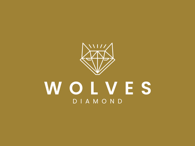 WOLVES DIAMOND logo cooncept logo minimal symbol diamond walves design branding logo lineart illustration icon graphic design